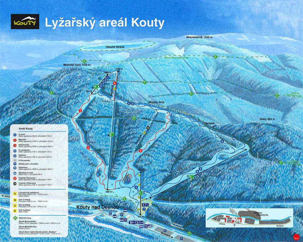 mapa Ski areál Kouty