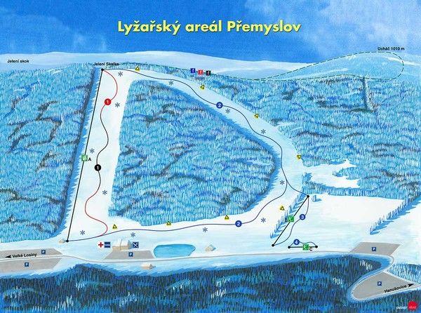 mapa Ski areál Přemyslov