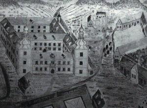 zamecky park Veduta Glaubitzovy mapy losinskeho panství 1739